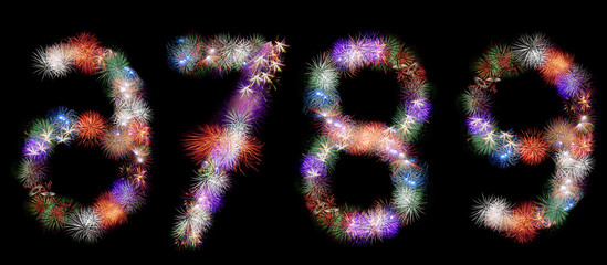 many  groups of exploding fireworks shaped like numbers