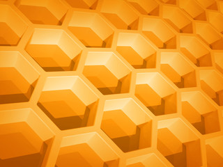 Abstract yellow honeycomb structure background. 3d render illust