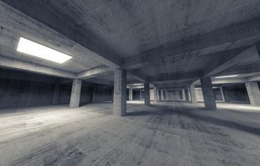 Empty dark abstract parking concrete interior. 3d illustration