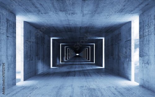 3d render, abstract empty blue concrete interior background