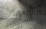 Abstract dark concrete 3d interior with polygonal structure on t