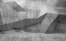 "Постер, картина, фотообои ""Abstract dark concrete 3d interior with polygonal pattern on the"""