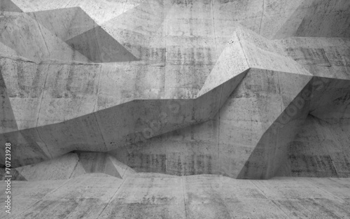 Abstract dark concrete 3d interior with polygonal pattern on the - 70723928