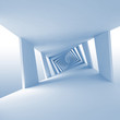Abstract blue 3d background with twisted spiral corridor