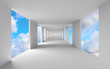 Abstract 3d architecture, empty white corridor with sky