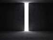 Dark abstract interior with opening in the concrete wall. 3d ren