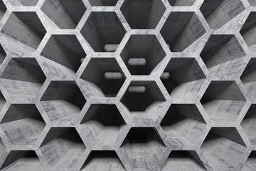 Abstract gray concrete interior with honeycomb structure