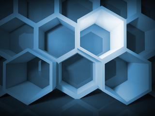 Abstract blue honeycomb structure background with light