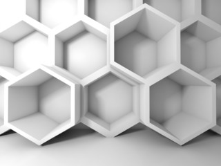 Abstract white honeycomb structure on the wall. 3d interior back