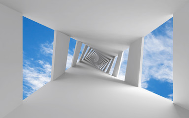 Abstract 3d background with twisted corridor and sky © eugenesergeev