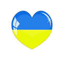 Vector - UkraineFlag Heart Glossy Button