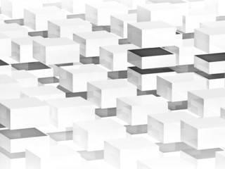 Abstract digital 3d background with white boxes pattern
