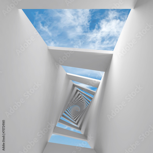 Abstract 3d background with twisted spiral corridor and sky