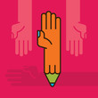 hand with pencil. education idea