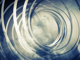 Fototapeta Monochrome abstract 3d toned spiral background with clouds