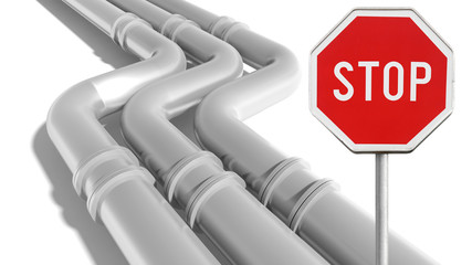 Industrial metal pipeline with stop sign on white background