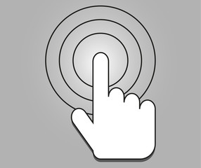 Sign emblem vector illustration. Hand with touching a button or