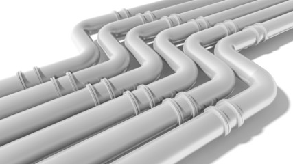 Modern industrial metal pipeline on white background. 3d render