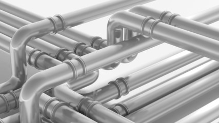 Modern industrial metal pipeline fragment. 3d render illustratio