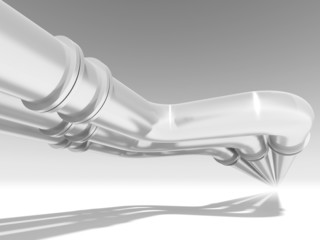 Shining metal pipeline perspective, abstract 3d illustration