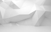 "Постер, картина, фотообои ""Abstract white 3d interior with polygonal pattern on the wall"""