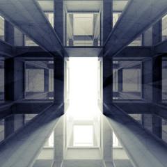 Abstract dark 3d interior with glowing door