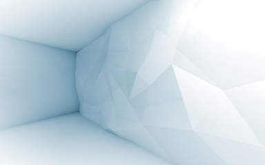 Abstract blue 3d interior with polygonal pattern on the wall