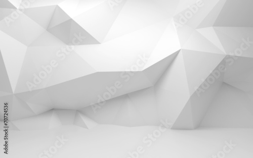 Abstract white 3d interior with polygonal pattern on the wall - 70724536