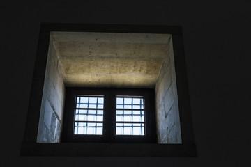 barred window in Lisbon, Portugal