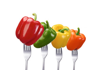 Paprika in vier verschiedenen Sorten