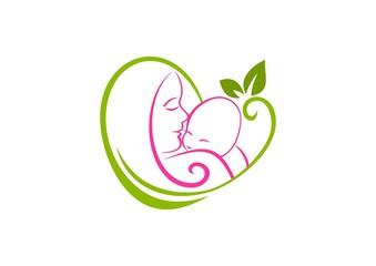 Natural parenting logo, abstract mom baby heart symbol Vector