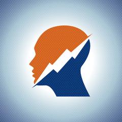 Thinking Head a lightning Vector illustration - Illustration