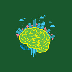 Ecology concept with brain - Illustration