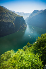View to Geiranger fjord in Norway, Europe