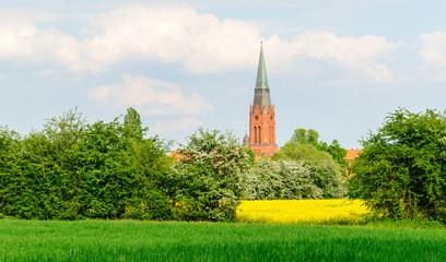 Kirchturm St. Martin in Nienburg an der Weser hinter Marschlands