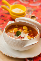 spicy chicken soup with chickpeas and spices garam masala