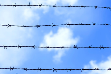 Barbed wire fence against blue sky and cloud