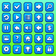 Game blue square buttons set