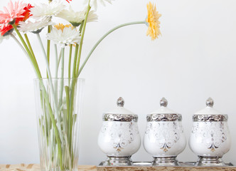 Gerbera Daisy with ceramic bowl.