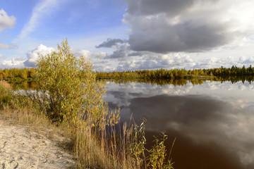 Autumn scenic landscape of northern Russia