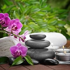 spa concept zen basalt stones and orchid