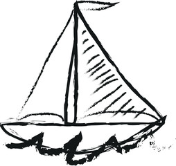 sailboat simple doodle charcoal