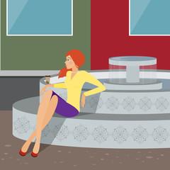 girl near a fountain