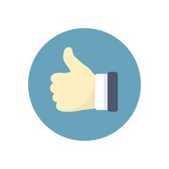 Flat modern vector icon: thumb up.