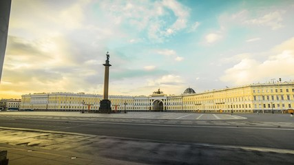 Palace Square in St. Petersburg Morning Time Lapse