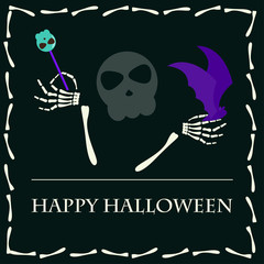 Halloween vector background with funny skeleton