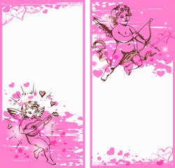 Vertical pink banners with Cupids