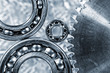 ball-bearings and cogwheels in close-up view