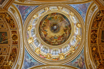 Interior decoration of Saint Isaac's Cathedral in St. Petersburg
