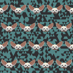 polygonal Fennec fox pattern background